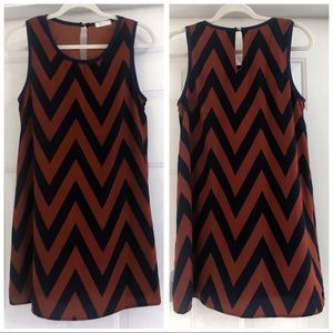 NWT Everly Size Small Navy & Brown Dress
